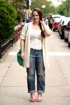 periwinkle boyfriend jeans - aquamarine suede Zara bag