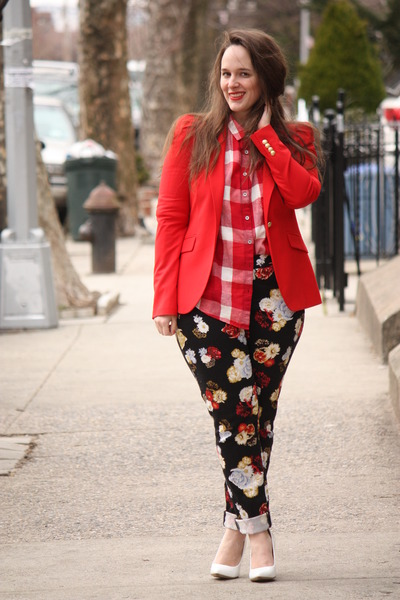 black floral H&M pants - red Zara blazer - ruby red checkered madewell shirt