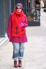 Maroon-lace-up-topshop-boots-magenta-wool-blend-coat