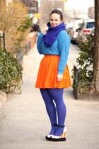 blue HUE tights - blue wool blend J Crew scarf
