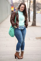 brown lace-up boots - blue skinny Zara jeans - dark brown leather jacket