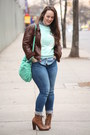 Brown-lace-up-boots-blue-skinny-zara-jeans-dark-brown-leather-jacket