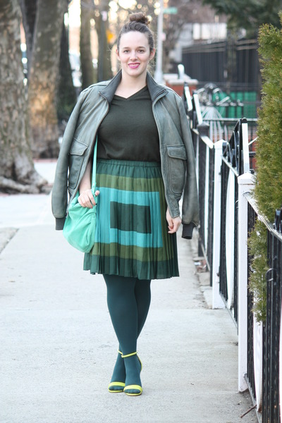 teal pleated Joe Fresh skirt - forest green jacket - dark green husbands sweater
