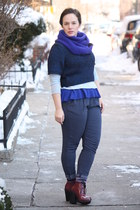 blue wool J Crew scarf - maroon lace-up Topshop boots