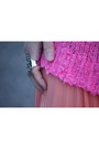 Hot-pink-white-topshop-sweater-salmon-pleated-skirt-hot-pink-glitter-heels