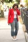 Red-zara-blazer-periwinkle-boyfriend-jeans-red-zara-shirt