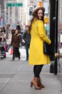 Black-lace-zara-dress-brown-lace-up-boots-yellow-wool-blend-jcrew-coat