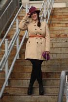 camel trench Zara jacket - boots - purple fedora Nordstrom hat - leggings