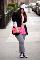 black J Crew blazer - white hat - salmon J Crew bag