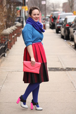 hot pink wool vintage skirt - navy HUE tights - navy wool blend J Crew scarf