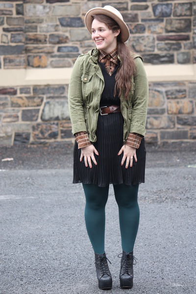 teal HUE tights - black pleated Zara dress - eggshell wool hat