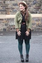 teal HUE tights - black pleated Zara dress - eggshell wool hat