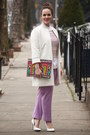 White-zara-coat-hot-pink-beaded-bag-amethyst-wool-jcrew-pants