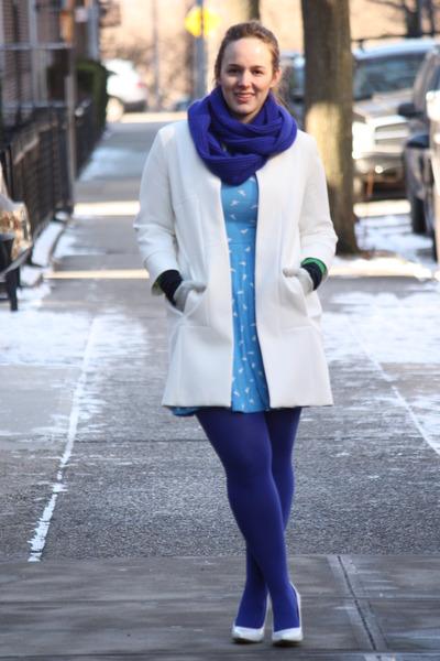 blue wool blend JCrew scarf - sky blue printed asos dress - white Zara coat