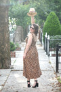 Brown-cheetah-print-asos-dress-beige-straw-forever-21-hat