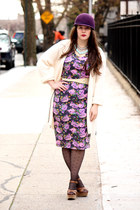 purple wool hat - amethyst asos dress - black polka dot HUE tights