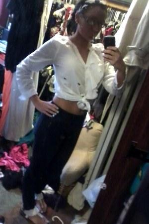 jeans - blazer - white ruffle blouse - white beaded sandals