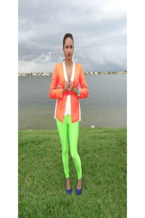 white  bright blazer - bright leggings - fun colors accessories