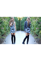 black combat boots - periwinkle floral print Forever 21 dress