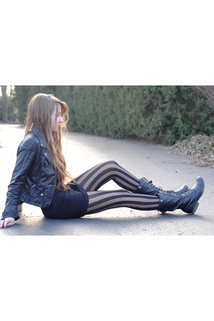 black faux leather H&amp;M jacket - black striped asos tights - black H&amp;M skirt