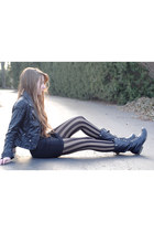 black faux leather H&M jacket - black striped asos tights - black H&M skirt