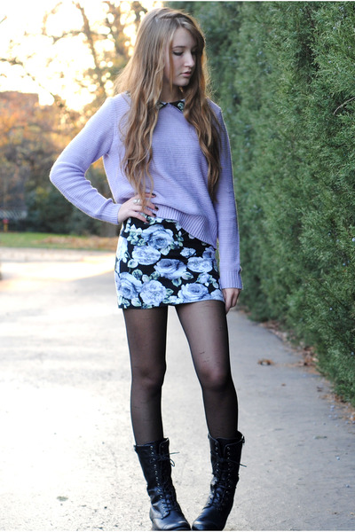 Black Floral Forever 21 Dresses, Periwinkle Forever 21 Sweaters ...