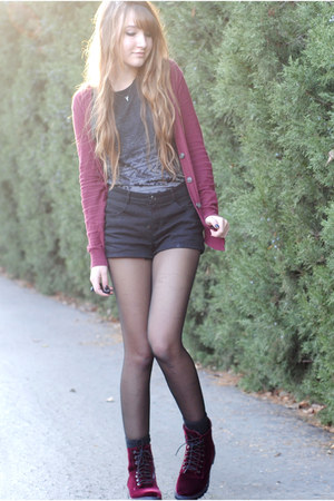maroon burgundy Urban Outfitters cardigan - crimson velvet H&M boots