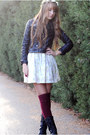Black-combat-forever-21-boots-white-floral-h-m-dress