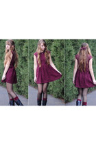 crimson lace H&M dress - black combat Forever 21 boots - crimson HUE socks