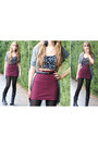 Black-daisy-bustier-forever-21-top-heather-gray-express-cardigan