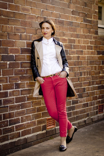 camel leather sleeves Burberry coat - red skinny Witchery jeans