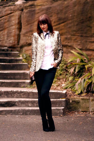 black skinny jeans Zara jeans - gold sequinned Zara blazer