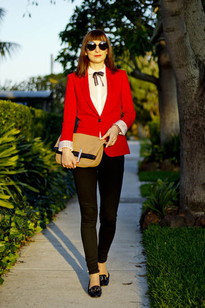 red wool Zara blazer - black skinny jeans Zara jeans