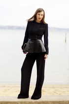 black peplum leather Zara jacket - gold gold plated DIY necklace