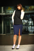 black turtle neck Zara top - off white sheer Kookai top - navy Zara skirt