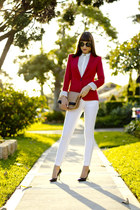 red fitted Zara jacket - white skinny AG Jeans jeans