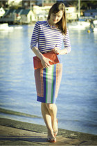 carrot orange leather Clare Vivier bag - blue stripes Marcs top