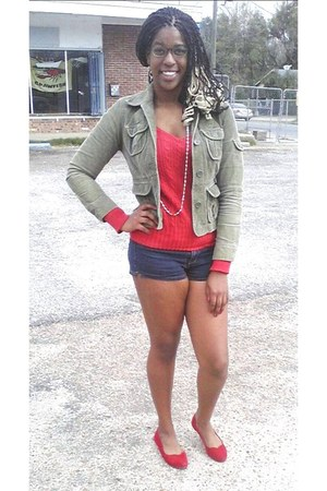 olive green jacket - red American Eagle sweater - blue 2Bwithu shorts