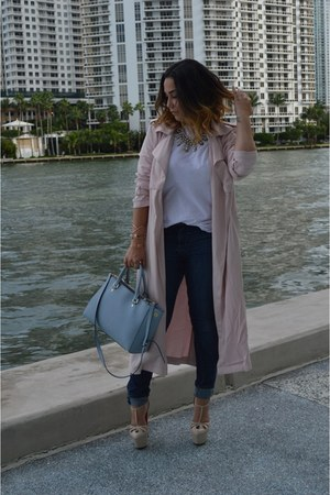 light pink dusty rose Forever 21 coat - blue high waisted hm jeans