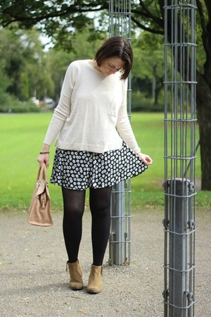 skater cotton on skirt - Monki sweater - leather Coccinelle bag