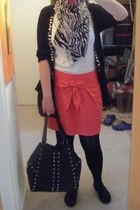 black Monki cardigan - pink Dorothy Perkins skirt