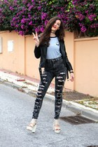 black high waisted PINKBASIS jeans - black leather Yoins jacket