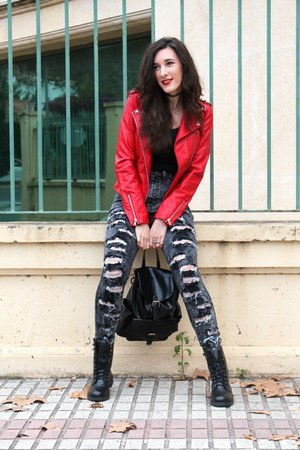 black combat boots DealSale boots - black high waisted PINKBASIS jeans