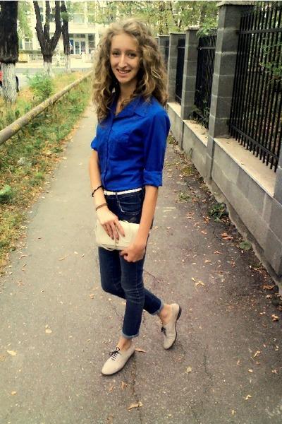 eggshell leather dior bag - blue  Bershka shirt
