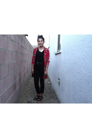 black vneck Forever 21 shirt - red long cardigan thrifted cardigan