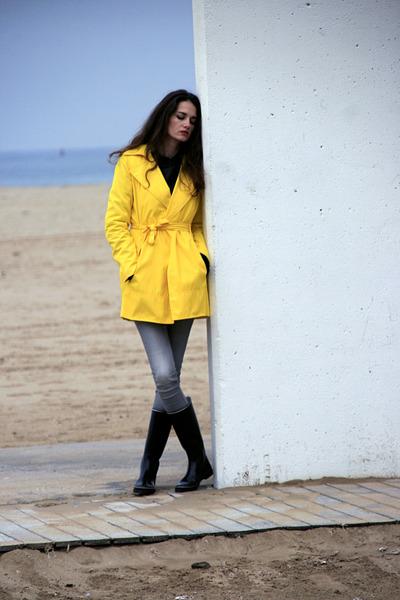 yellow Zara coat - black Aigle boots - heather gray Zara jeans