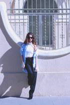sky blue Zara blouse - black Zara pants