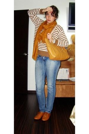mustard Michael Kors bag - bronze Steve Madden shoes - sky blue sxy jns jeans