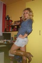 light blue jeans Bershka shorts
