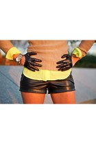 leather H&M shorts - leather catalin botezatu gloves